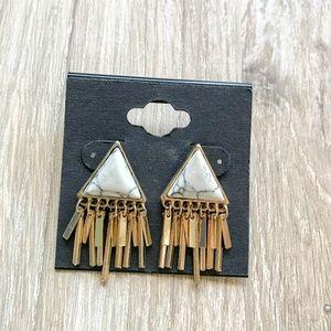 Jewelry - Triangle Marble Tassel Earrings